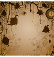 Abstract bronze background with tea party theme vector image
