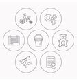 First bike bucket and bear toy icons vector image