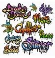 Graffiti word set vector image