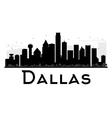 Dallas City skyline black and white silhouette vector image
