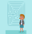 confused businesswoman with labyrinth vector image
