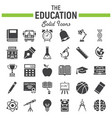 education solid icon set school sign collection vector image