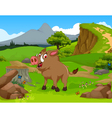 funny Wild boar cartoon in the jungle with landsca vector image
