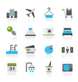 hotel motel and travel icons vector image
