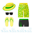 male beach outfit clothing and accessories at sea vector image