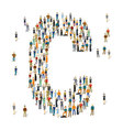 People crowd alphabet ABC letter C vector image