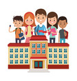 school building different students white vector image