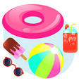 summer set with rubber ring ball sunglasses vector image