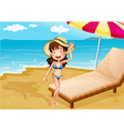 A relaxing bed at the beach with a girl vector image