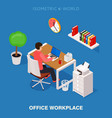 colored 3d isometric office workplace vector image