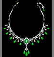 diamond necklace with emeralds vector image