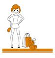 Fashion girl with sale bag vector image