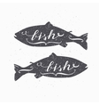 Hand drawn salmon fish hipster silhouette vector image