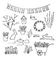 hello spring sketch set first flowers gardening vector image