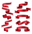 Red glossy ribbon banners set vector image