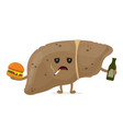 sad unhealthy sick liver with bottle vector image