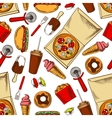 Seamless takeaway fast food pattern background vector image