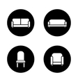 Soft furniture black icons set vector image