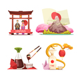 Japan Culture 4 retro Compositions Set vector image