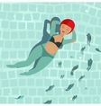 Swimming Beautiful Woman in Pool vector image