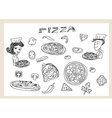 Pizza and vegetables doodle set vector image