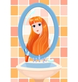 girl in a mirror vector image vector image