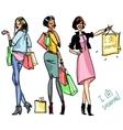 Pretty girls with shopping bags vector image