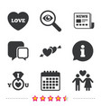 valentine day icons i love you ring sign vector image