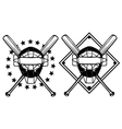 baseball mask and crossed bats vector image vector image