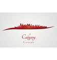 Calgary skyline in red vector image