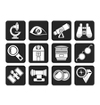 Silhouette Optic and lens equipment icons vector image