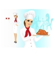 smiling female chef with christmas roasted turkey vector image