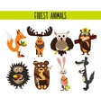 Cartoon Set of Cute Woodland and Forest Animals vector image
