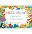 Certificate with toys in background vector image