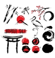 Japanese Sumie Ink Painting Icons Set vector image vector image