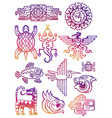 colorful american aztec mayan symbols vector image