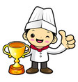 funny cook character awarded in the contest vector image