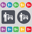 person up hailing a taxi icon sign A set of 12 vector image