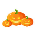 three scary spooky pumpkin jack-o-lanterns vector image