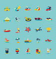 summer beach retro icons background set vector image