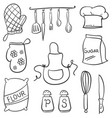 doodle of kitchen set style collection vector image