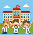 cheerful student school building back yard vector image