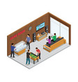 home game club interior isometric composition vector image