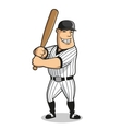 Cartoon baseball player character with bat vector image
