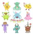 Sweet Monsters Happy With Birthday Party Objects vector image