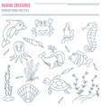 Collection of hand drawn sea creatures vector image