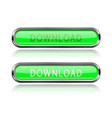 download long green buttons with chrome frame vector image