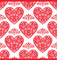 folk heart seamless pattern scandinavian vector image