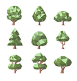 low poly tree set vector image