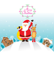 Santa Claus And Reindeer In Town vector image